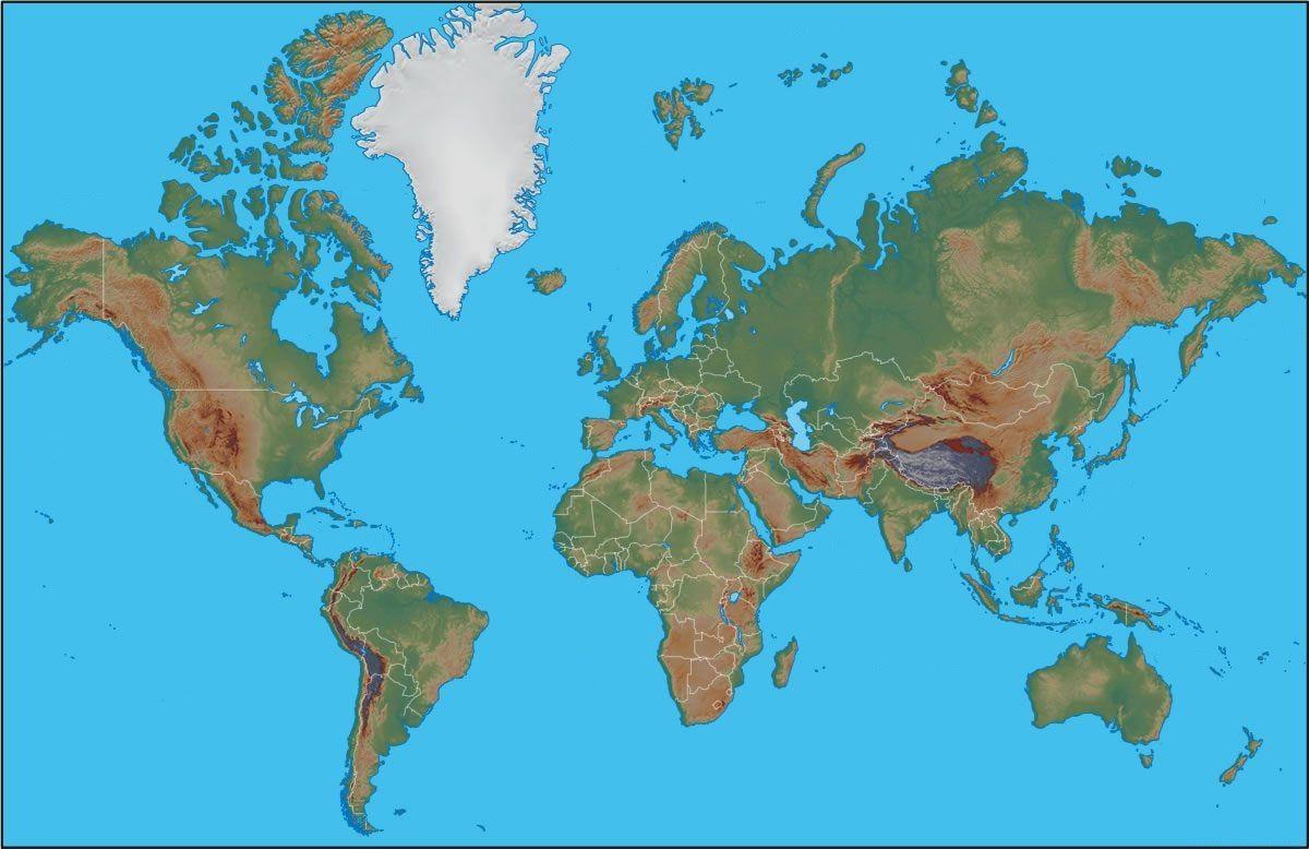 Una cartina geografica moderna